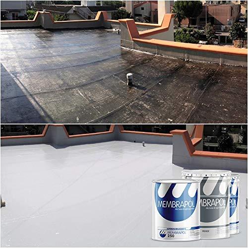 Membrapol 250 kit per l' impermeabilizzazione dei balconi, terrazzi e porticati (supporto in guaina bituminosa, 4 mq)