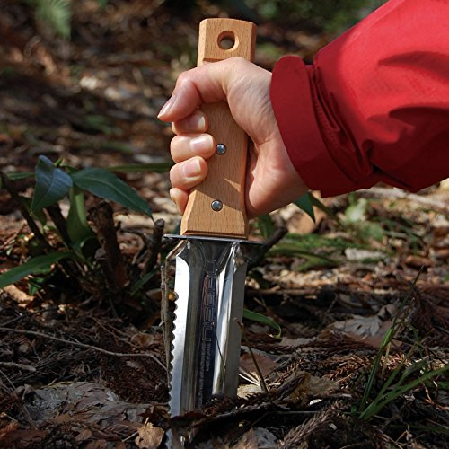"Nisaku NJP650 Hori-Hori Weeding & Digging Knife, Authentic Tomita (Est. 1960) Japanese Stainless Steel, 7.25"" Blade, Wood Handle"