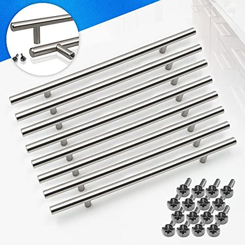 Paquete de 8 Manijas en Forma de T en Acero Inoxidable para Cajones Puertas de Gabinete o Cocina-150 mm de ancho;Centros 96mm-Tiradores Cocina,para Cajones Puertas de Gabinete,armarios de cocina