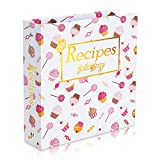 Recipe Binder Book 3 Ring Organizer Holder Kit 8.5 x 9.5'(Ice Cream),Full Page Recipe Book Binder with Recipe Cards 4x6,Full Page Dividers,Plastic Page Protectors Ideal Gift for Birthday Mother's Day