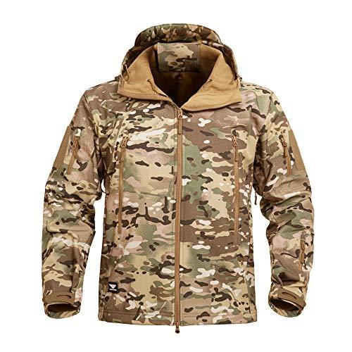 YEVHEV - Chaqueta táctica para hombre con capucha, forro polar para invierno al aire libre