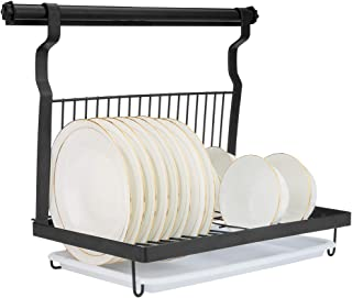Eastore Life Wall-mounted Dish Rack with Hanging Rod, Foldable Dish Drying Rack with Drainboard, Stainless Steel Dish Drainer, Black