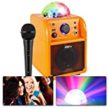 Vonyx SBS50B Altavoz portátil Set de Karaoke para Fiesta con micrófono y Efecto Eco, Bluetooth, Bola de Discoteca con Efectos de Luces LED, Entrada Auxiliar - Naranja