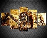 aicedu 5 Unidades/Set Pintura de Pared Caligrafía Animal Tiger Wall Art Print Poster Lienzo Quadro Decoración del Hogar Arte Modular HD Impresión Sin Marco