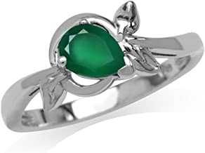 Silvershake Natural Emerald Green Agate White Gold Plated 925 Sterling Silver Leaf Ring