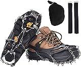 Crampones para botas de montaña, crampones de hielo, garras de zapatos con 19 dientes de acero inoxidable, para nieve, senderismo, escalada, pesca (negro, L)