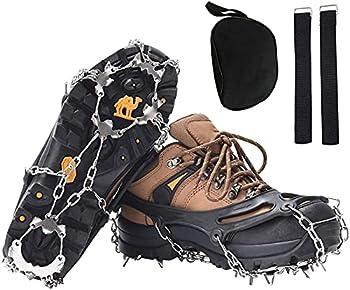 Crampons pour chaussures de montagne, crampons, crampons à glace, griffes à chaussures avec 19 dents en acier inoxydable, pointes pour la randonnée, l'escalade, la pêche (noir)