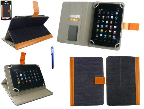 Emartbuy® Blau Eingabestift + Universalbereich Denim with Tan Trim Multi Winkel Folio Executive Hülle Cover Wallet Hülle Schutzhülle mit Kartensteckplätze Geeignet für Odys Junior Tab 8 Pro 8