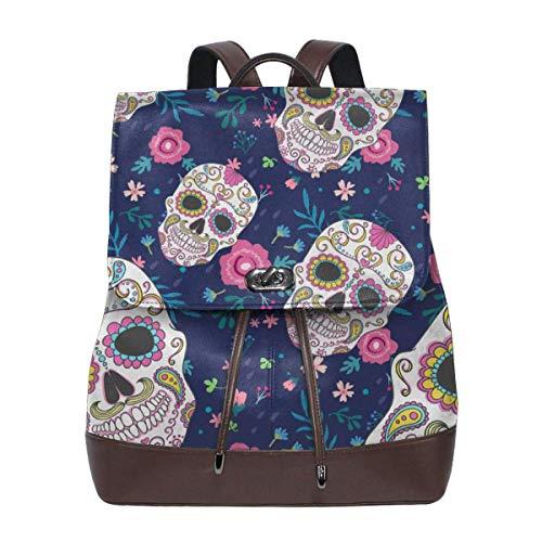 Flyup Women Backpack Purse Candy Skull Flowers Rose Waterproof PU Leather Anti-theft Schoolbag Lightweight Rucksack