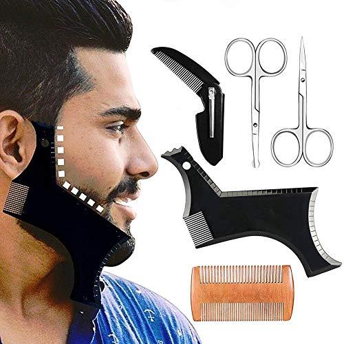 iBoosila Bart Schablone Bartpflege, Bartkamm Styling Tool Symmetrische Bartschablonen und Kontur der Bartlinie, Bartschablone Bartvorlage Styling