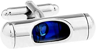MFYS Blue Level Design Classic Cufflinks Gift for Men/Father's Day/Lover/Friends/Wedding/Anniversaries/Birthdays with A Elegant Box