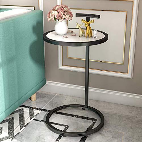 YVX Mesa Auxiliar Moderna Mesa C Blanca Sofá Mesas auxiliares para Sala de Estar Mesa de refrigerios Acento Mesa de sofá para café Laptop Bandeja de TV Marco de Metal Mesa sobre la Cama (55/70 c