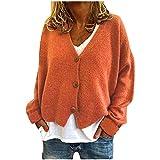 Jersey de punto para mujer elegante y sólido, chaqueta de punto con botones, abrigo, sudadera, camiseta de manga larga, cuello redondo, suéter informal, naranja, XL