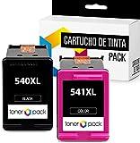 2 TONERPACK PG 540 XL CL 541 XL Cartuchos de Tinta Compatible para impresoras Canon PIXMA MG 2150, 2250, 3150, 3250, 3550, 3650, 4150, 4200, 4250, TS 3650, 5150, 5151 (1 Negro + 1 Tricolor)