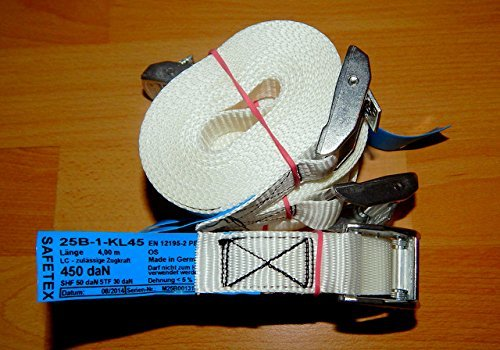 10 PROFI Zurrgurte mit Klemmschloss Spanngurte für Transport und Umzug, Material:Polyester, Breite: 25 mm, Länge: 4 m, 450 da/N, DIN-EN 12195-2, Made in Germany