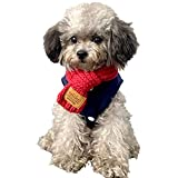 Kalvonfu Pañuelo de cuello para perro, para invierno, para cachorros, de punto térmico, color rojo