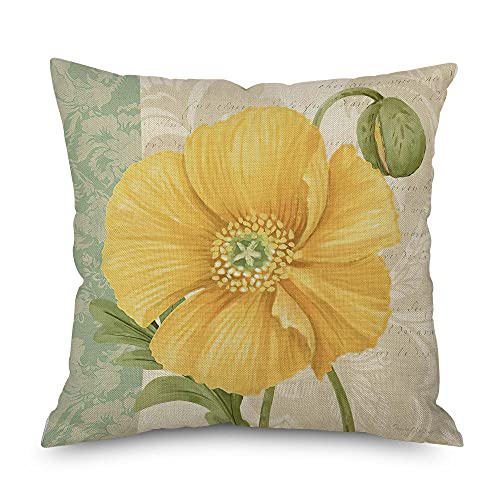 Cojines Funda de cojín de flor verde mosaico lino almohada almohada funda 62107-18_45Cm* 45Cm