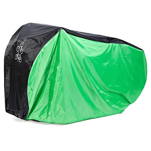 Hamimelon Fahrradabdeckung Wasserdicht Fahrradgarage Fahrradueberzeug Regenschutz 200 x 110 x 75CM Fuer 2 Fahrraeder Gruen