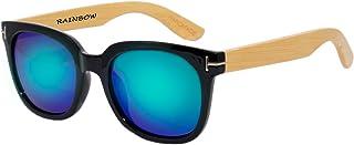 rainbow safety - Mujer Hombre Gafas de Sol de Madera Polarizadas Vintage RW