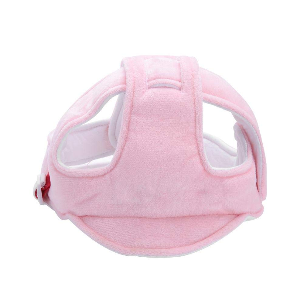 Infant Head Protection Cushion Bonnet Hat Baby Toddler Safety Helmet Adjustable Safety Protective Headguard Harnesses Hat for Biking Walking Crawling(Pink)