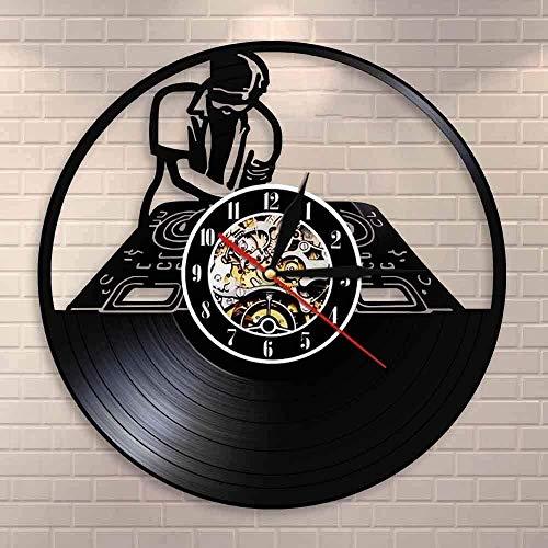 Vinyl Wall Clock DJ Turntables Hip Hop Wall Clock Night Club Music Studio Wall Art Vintage Vinyl Record Wall Clock Music Lover DJ Boyfriend Gifts