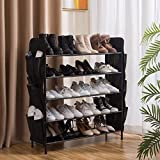 UDEAR Shoe Rack Free Standing Shoe Organizer,5-Tier with Side 12 Shoes Pockets,31.5inches Wide,Black