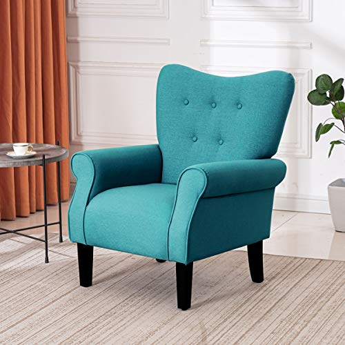 DNYKER Modern Accent Chair Comfy Armchair Single Wingback Chair Made of Wooden and Linen Fabric Sofa for Living Room Bedroom Office (Tiffany Blue)
