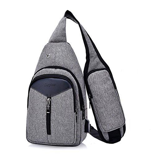 Bolsa de Hombro con USB Puerto de Carga, Estwell Bolso Pecho Sling...