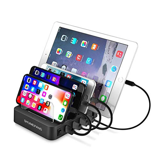 shumeifang QC3.0 USB Ladestation 4 Ports Universell Ladegerät Für Mehrere Geräte Handys Tablets 40W Dockingstation für Cellphone Tablet - Grau
