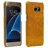 Urcover Funda Samsung Galaxy S7 Edge Fashion Backcase Vintage [Eco Cuero] Amarillo Carcasa Samsung Galaxy S7 Edge Funda [Ranura Tarjetas] Móvil Smartphone