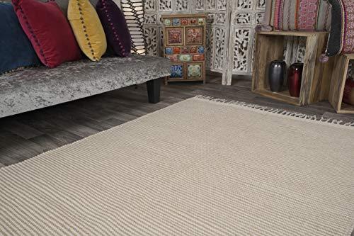 Colva Small Thin Rug Pale Two Tone Natural Oatmeal Beige Stripe Flat Weave of Cotton Jute Yarn 60 cm x 90 cm