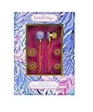 Lilly Pulitzer Pink/Blue Earbuds with Silicone Tips and Volume Control, Kaleidoscope Coral