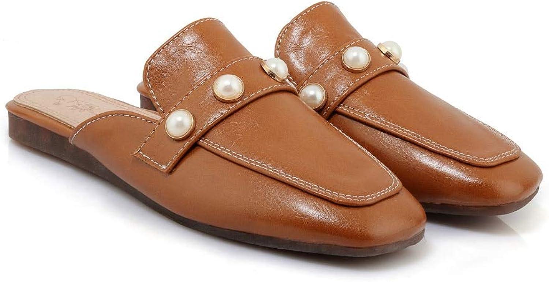 MENGLTX High Heels Sandalen Frauen Hausschuhe Einfache Elegante Perle Quadratische Kappe Mode Schuhe Komfortable Flache Sommer Mules Schuhe