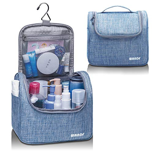 WANDF Hanging Toiletry Bag Travel Cosmetic Organizer Shower Bathroom Bag for Men Women Water-Resistant (Light Blue .)