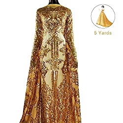 Pattern 2-Gold 5 Yards Mesh Tulle Embroidered Fabrics With Sequins