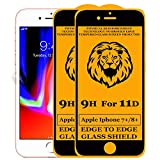 Kreatick 11D Edge to Edge Tempered Glass Screen Protector Compatible with Apple iPhone 8 Plus [Pack of 2] Without Installation kit (Black)