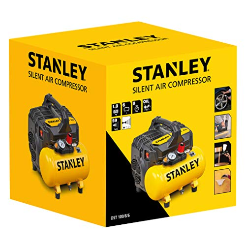 Stanley 100/8/6 Silent Air Compressor DST 100/8/6SI, 750 W, 230 V, Giallo - 6