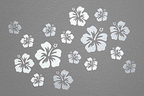 WANDfee® Wandtattoo 16 Hibiskus Blüten AC0610222 Größe Ø 7-15 cm, 2 x Ø 15 cm, 4 x Ø 11 cm, 10 x Ø 7 cm Farbe weiß silber
