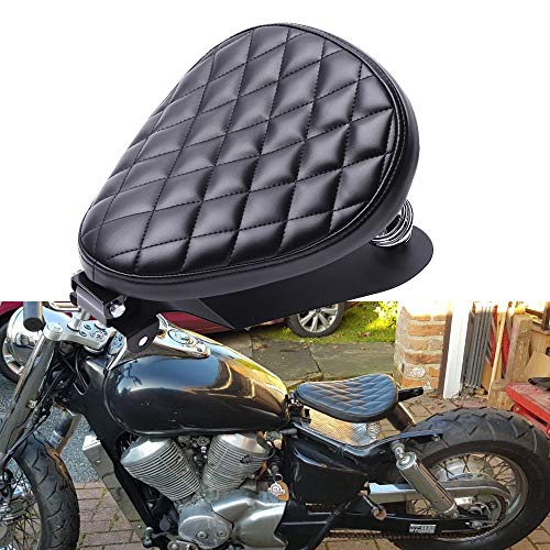 Sella da Moto Bobber Custom Chopper Nero con Molle e Staffa di Montaggio per Sportster Forty-Eight 48 XL883 1200 Chopper CustomBobber Chopper