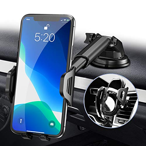Phone Car Holder Mount - RAXFLY Windshield/Air Vent/Dashboard Cell Car Phone Holder for Car 360 Degree Rotation Universal Suction Mount Stand Compatible with iPhone 11 Samsung S20 Plus All Smartphones