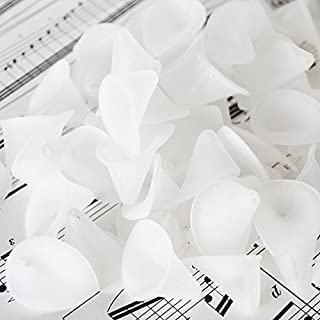 25pc White Frosted Acrylic Calla Lily Flower Beads-Wedding Jewelry Making- 24mm or 1 inch