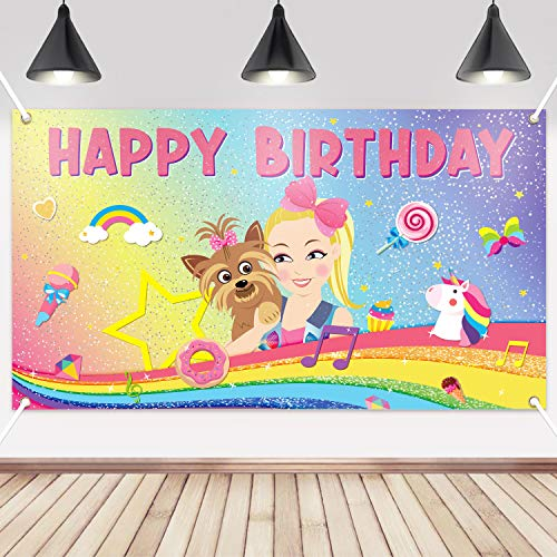 PANTIDE JoJo Happy Birthday Backdrop Banner- Unicorn Rainbow Puppy Large Poster Photography Background Wall Decor Studio Photo Props, Colorful JoJo Party Supplies Indoor Outdoor Decor(6.6ft3.8ft)