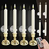 8 Pack Flameless Window Candles Set. with 8 Clips+8 Suction Cup+8 Golden Candleholders. Ba...