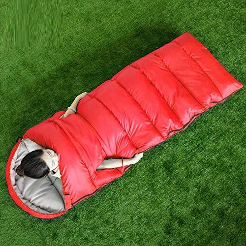 DLSM Sac de couchage de style pour adulte en plein air à l'intérieur du bureau chaud Sac de couchage à main pour camping Voyage Double Sac de couchage en coton Grand Rouge