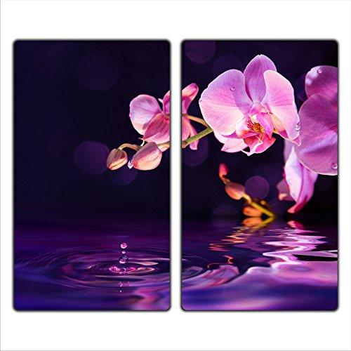 decorwelt | Couvre-plaques de cuisson 2 x 30 x 52 cm en 2 parties universelles pour plaques de cuisson électriques à induction Protection anti-éclaboussures Verre de sécurité Orchidée