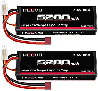 HOOVO 2S 7.4V 5200mAh 80C RC LiPo Battery Hard Case with Deans Connector for RC Buggy Vehicles Car Boat Truck