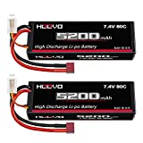 HOOVO 2Pack 2S 7.4V 5200mAh 80C RC LiPo Battery Hard Case with Deans Connector for RC Buggy Vehicles Car Boat Truck