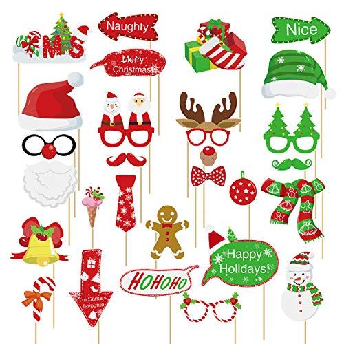 Amosfun 28PCS Puntelli per Foto di Natale Puntelli per Foto di Natale Puntelli per Foto Selfie Fotocamera in Posa Forniture per Decorazioni per Feste di Natale