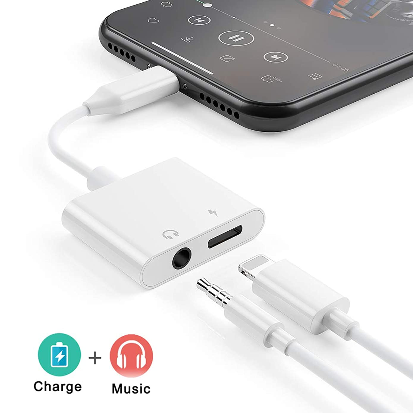 Adapter Headphones for iPhone 7 Charge and Audio Splitter 2 in 1 Earphone AUX Music Cable Charger Connect for iPhone X/XS/8/8 Plus/7/7 3.5mm Female Stereo Audio Headphone Jack Adapter Support iOS 12