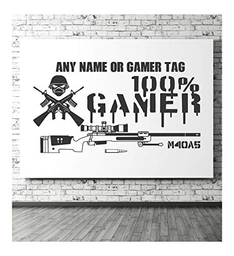 Gaming Wall Sticker, Personalised, 100% Gamer, Gamers, Consoles,PS4, Xbox, Playstation